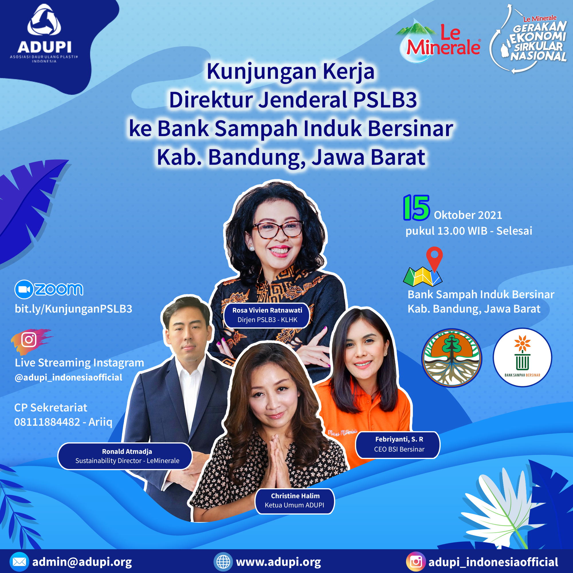 Kunjungan Kerja Direktur Jenderal PSLB3 ke Bank Sampah Induk Bersinar, Kab Bandung Jawa Barat